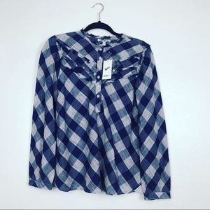 NWT William Rast  Buttoned Blue Western Blouse S